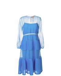Vestido midi de malla con volante azul de N°21