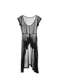 Vestido midi de malla con volante negro de Comme Des Garçons Vintage