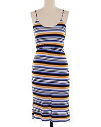 Vestido midi de rayas horizontales en multicolor