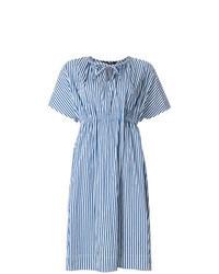 Vestido midi de rayas verticales azul