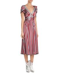 Vestido midi de rayas verticales rojo