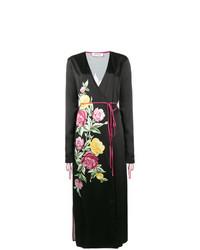 Vestido midi de satén con print de flores negro de ATTICO