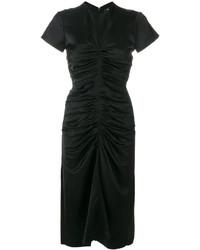 Vestido midi de satén negro de Isabel Marant