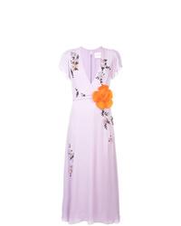 Vestido midi de seda con print de flores violeta claro de Carolina Herrera