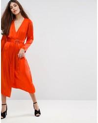 Vestido midi de seda naranja