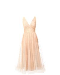 Vestido midi de tul en beige de Marchesa Notte