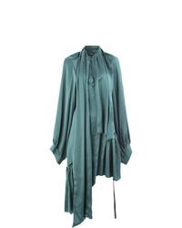 Vestido midi plisado en verde azulado de Ann Demeulemeester