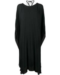 Vestido midi plisado negro de Balenciaga