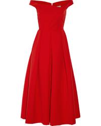 Vestido midi plisado rojo