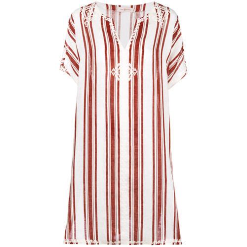 Vestido playero en blanco y rojo de Tory Burch