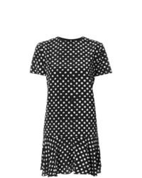 Vestido recto a lunares en negro y blanco de Saint Laurent