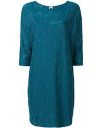 Vestido recto bordado en verde azulado de M Missoni