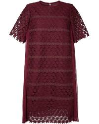 Vestido recto bordado morado oscuro de Muveil