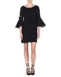 Vestido recto bordado negro