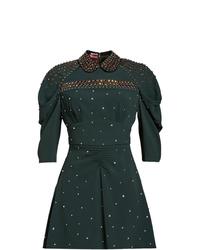 Vestido recto con adornos verde oscuro de Miu Miu