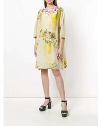 Vestido recto con print de flores amarillo de Antonio Marras