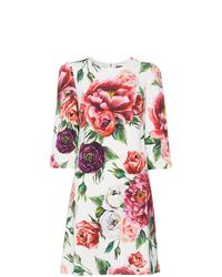 Vestido recto con print de flores blanco de Dolce & Gabbana