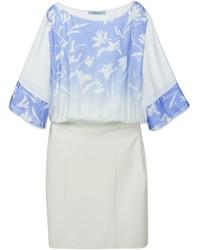 Vestido recto con print de flores en blanco y azul de Blumarine