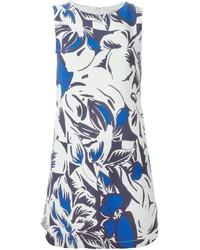Vestido recto con print de flores en blanco y azul de Vanessa Bruno
