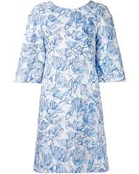 Vestido recto con print de flores en blanco y azul