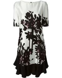 Vestido recto con print de flores en blanco y negro de Antonio Marras