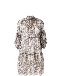 Vestido recto con print de flores en blanco y negro de See by Chloe