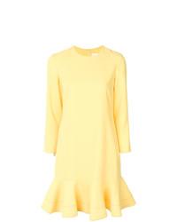 Vestido recto con volante amarillo de Victoria Victoria Beckham