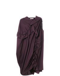 Vestido recto con volante morado oscuro de Marni