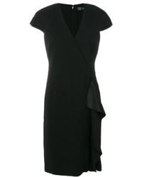 Vestido recto con volante negro de Versace