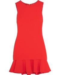 Vestido recto con volante rojo
