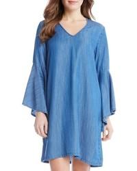 Vestido recto de cambray azul