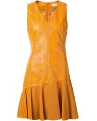 Vestido recto de cuero amarillo de Drome