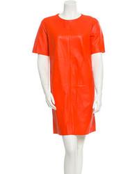 Vestido recto de cuero naranja