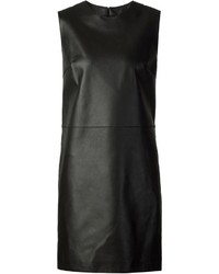 Vestido recto de cuero negro de Calvin Klein Collection
