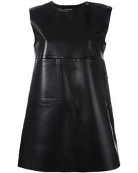 Vestido recto de cuero negro de Cédric Charlier
