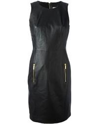 Vestido recto de cuero negro de MICHAEL Michael Kors