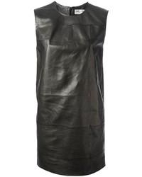 Vestido recto de cuero negro de Saint Laurent