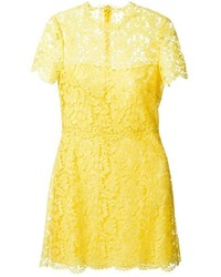 Vestido recto de encaje amarillo de Valentino