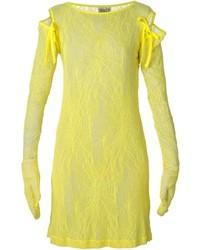 Vestido recto de encaje amarillo de Walter