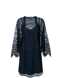 Vestido recto de encaje azul marino de Chloé