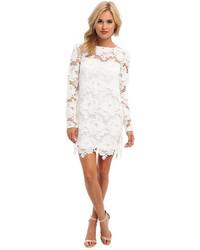Vestido recto de encaje blanco