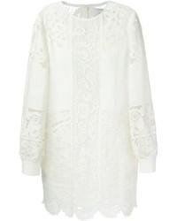 Vestido recto de encaje blanco de Valentino