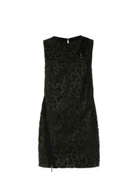 Vestido recto de encaje con print de flores negro de Tufi Duek