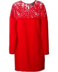 Vestido recto de encaje rojo de DKNY