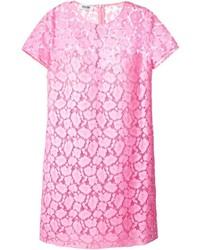Vestido recto de encaje rosado