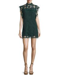 Vestido recto de encaje verde oscuro