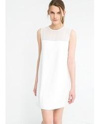 Vestido recto de gasa blanco