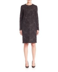 Vestido recto de lana en gris oscuro