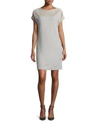 Vestido recto de lana gris