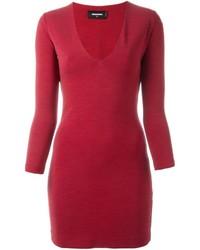 Vestido recto de lana rojo de Dsquared2